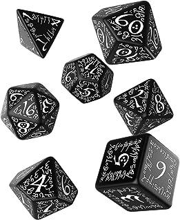Q WORKSHOP Elvish Black & White Rpg Ornamented Dice Set 7 Polyhedral Pieces