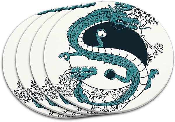 Yin And Yang Chinese Dragon Coaster Set