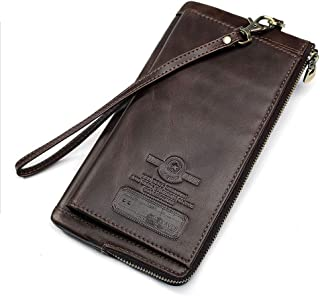 Mens Leather Bag Men's Wallet Leather Multifunctional Fashion Wallet Bag (Color : Brown, Size : S)