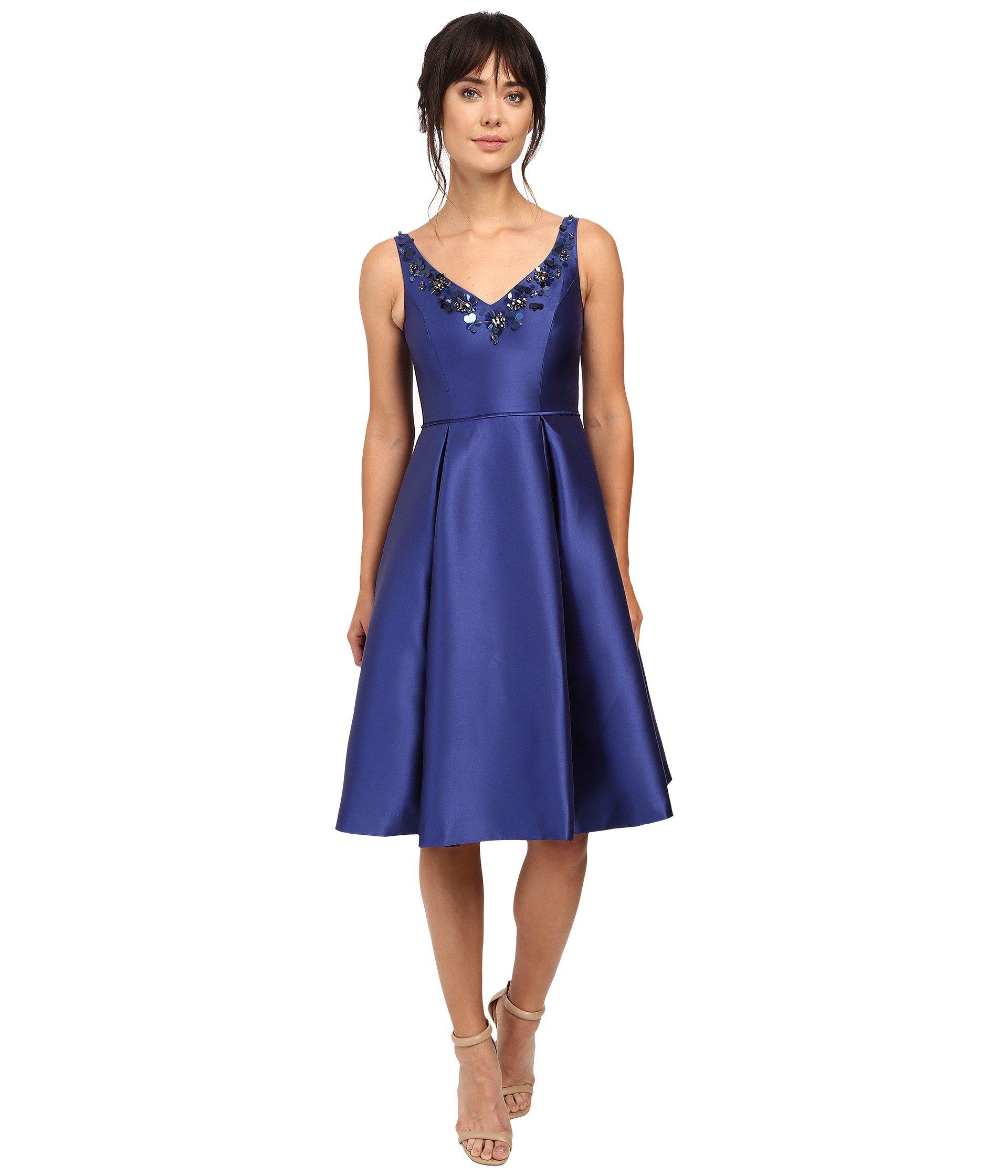 Adrianna Papell V Neck Beaded Mikado Dress In Deep Blue