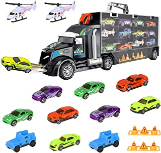 iBaseToy Car Toys - Toy Car Carrier Transport Trucks Set Play Vehicle Gift for Kids Boys Toddlers, Includes 10 Cars, 2 Helicopters, 2 Roadblocks, 1 Town Map, and 28 Toy Car Slots