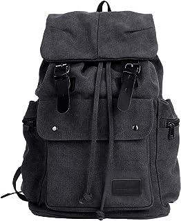 Eshow Schulrucksack Rucksack Laptoprucksack für Herren und Damen Canvas Segeltuch zur Uni Reisen schwarz