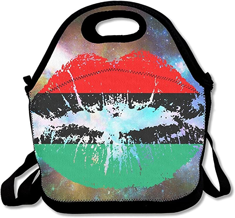 Starogs Pan American African Heritage Flag Colors Lips Lunch Tote Insulated Reusable Picnic Lunch Bags Boxes For Men Women Adults Kids Toddler Nurses