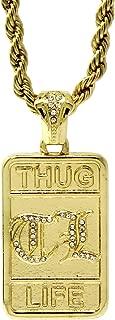 Jewel Town Mens Gold Plated Hip-Hop Block Thug Life Cz Pendant 24