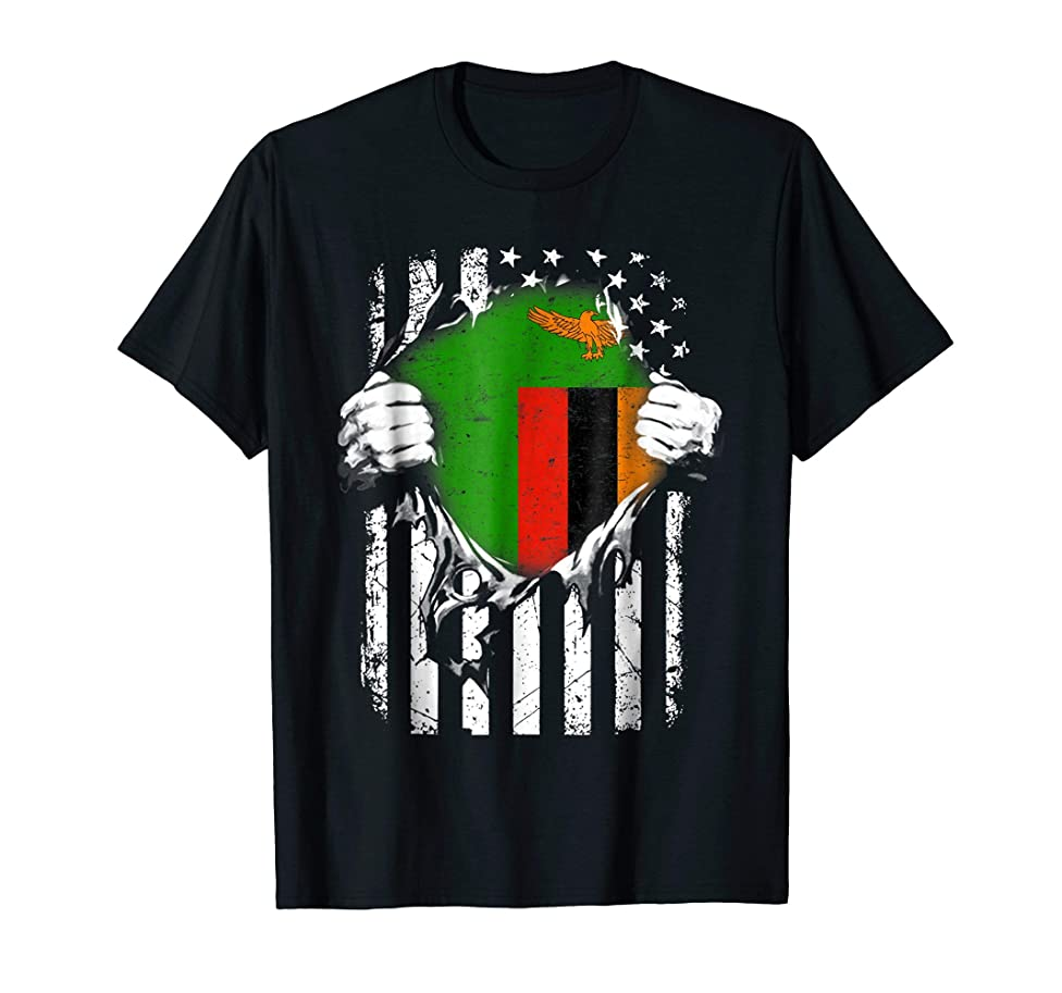 Super Zambia Hearts American Patriot Zambian Flag TShirt