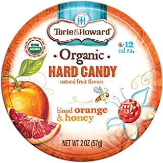 Torie and Howard Organic Hard Candy Tin, Blood Orange and Honey, 2 Ounce