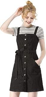 Women's Classic Adjustable Strap A-Line Overall Denim Dress