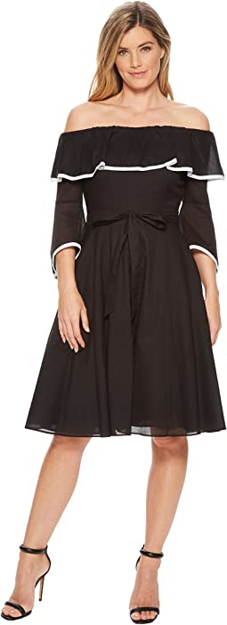 Calvin Klein Off Shoulder with Piping A-line Dress CD8G12HC