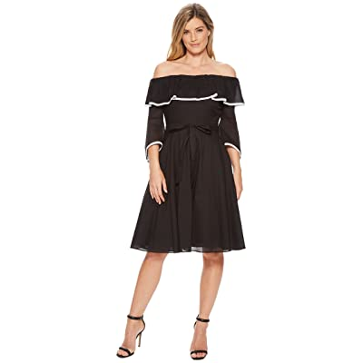 Calvin Klein Off Shoulder with Piping A-line Dress CD8G12HC (Black/White) Women