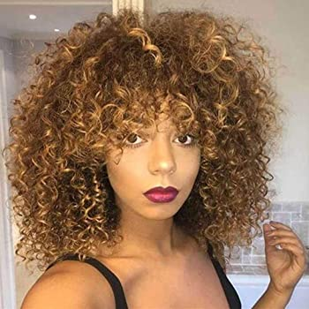 Cbwigs Afro Kinky Curly Ombre Brown Synthetic Lace Front