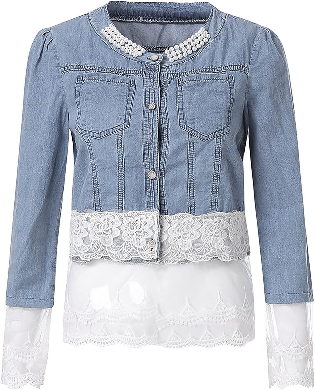VonVonCo Outwear Cardigan for Women Casual Lace Half Sleeve Denim Jacket Long Jean Coat Bead Overcoat