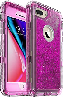 iPhone 7 Plus Case, Glitter 3D Bling Sparkle Flowing Liquid Case Transparent 3 in 1 Shockproof TPU Silicone Core + PC Frame Case Cover for iPhone 7 Plus/iPhone 8 Plus- (Hot Pink)