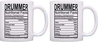 Marching Band Gifts Drummer Nutritional Facts Label Drums 2 Pack Gift Coffee Mugs Tea Cups White