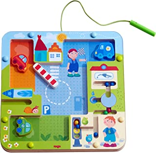 HABA Magnetic Game on The Road Maze - Encourages Fine Motor Skills & Beginning Understanding of Traffic Rules - Ages 2+