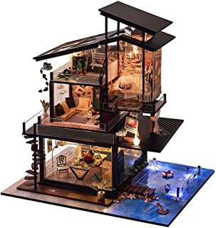 WSJTT Dollhouses, Best Birthday Gifts for Women and Girls 3D Mini Wooden Toy House with Furniture DIY Assembled House Mini...
