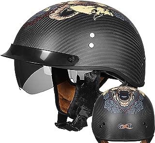High-Density Carbon Fiber Helmet, Summer Sun Visor and Anti-Stun Lens, Harley Retro 3/4 Half Helmet for Men and Women DOT Certification (Various Choices),03,XL