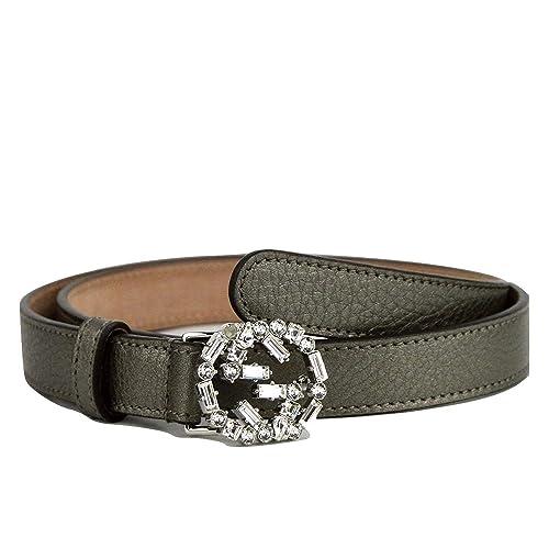 3ef6470752d Gucci Women s Leather Interlocking Crystal G Skinny Belt 354380