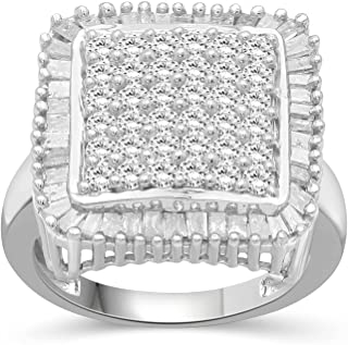 JEWELEXCESS White Diamond 2 Carat Ring with Sterling Silver for Women & Girls | Square Halo Promise Ring with Round & Bagu...