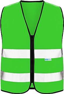 EAZY CASE Reflektorweste für Kinder, Sicherheitsweste, Reißverschluss Warnweste mit Reflektoren, atmungsaktiv, Reflektierend, zur Erhöhung der Sichtbarkeit im Straßenverkehr, XS, Grün