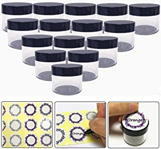 20gram/20ml Round Clear Empty Container Jars with Black Screw Lids Bulk for Lotions, Lip Balm, Makeup Samples - BPA Free (24 Pack, Black)
