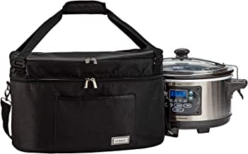 HOMEST Dust Carry Bag with Pockets for Himilton Slow Cooker 6-10 Quart, Water Resistant Travel Tote Bag, Black