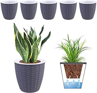 MOHENA 6 Inch Self Watering Planters Plastic Plant Pot, Modern Decorative Flower Pot/Window Box for All House Plants, Flowers, Herbs, African Violets, Succulents - Grey, Set of 6