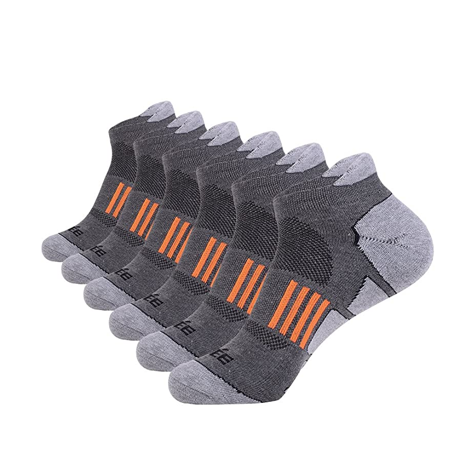 Men's Ankle Athletic Socks Running Sports Comfort Cushioned Tab Socks (6 Pack)