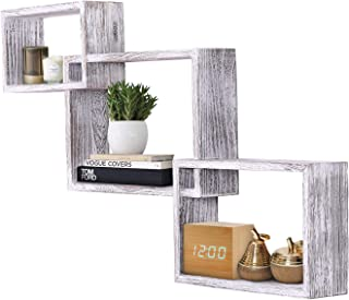 Rustic Wall Mounted Tier Square Shaped Floating Shelves – Set of 3 – Screws and Anchors Included - Farmhouse Wooden Shelves for Bedroom, Living Room and More – Rustic Wall Barn Décor – Rustic White