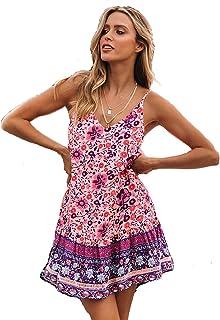 a75f30e3f SEMIR Mujeres Sexy Cuello en V Boho Estampado Floral Mini Vestido Casual  Vintage Summer Beach Wrap