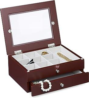 Relaxdays Boîte à bijoux avec 1 tiroir HxlxP : 9 x 22 x 18 cm coffre à bijoux avec fenêtre de visualisation en verre prése...