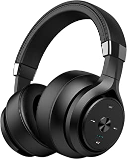 Picun Dual Driver 40 Hours Wireless Headphones Over Ear, EQ Deep Bass HiFi Stereo Bluetooth Headphones with HD Mic, Battery Indicator, Soft Protein Earpads for Gym Travel Work Cellphone TV PC (Black)
