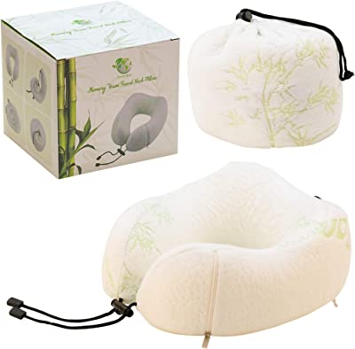 Always4Eco Neck Pillow, Memory Foam, Travel Sleeping Kit, Luxury, for Neck Pain Relief, Best for Mid-Size Adults