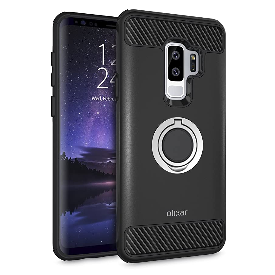 Olixar Samsung Galaxy S9 Plus Ring Case - with Kickstand - 360 Degree Rotation - Finger Loop Drop Protection Shock Absorption Case - Black