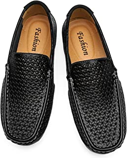 VHBSDINE Summer Men Shoes Casual Leather Mens Breathable Slip On Boat Shoes