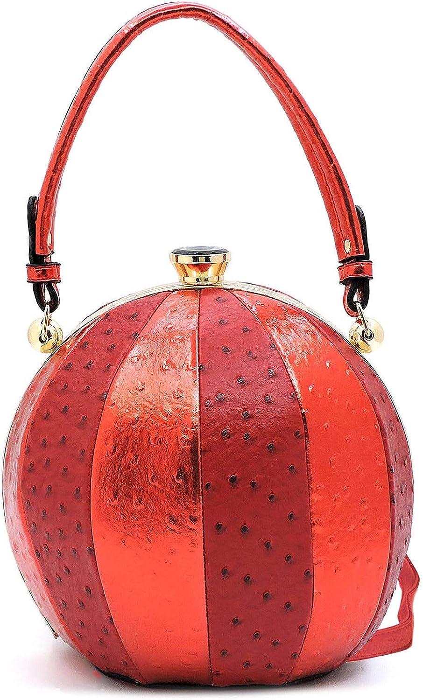 Ruby Fashions Round Ball Metallic & Ostrich Bag w Strap, Large