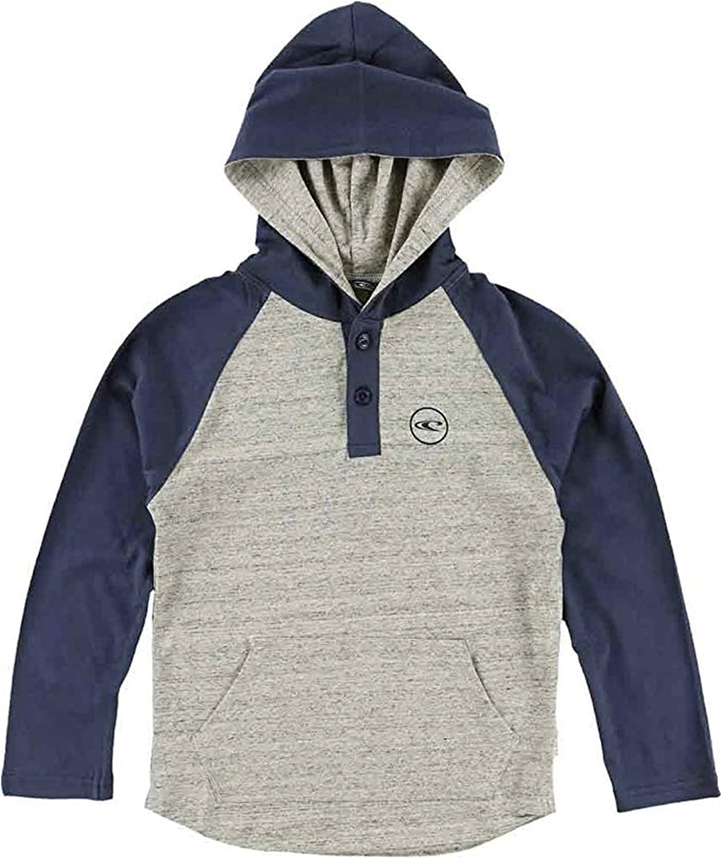 O'NEILL Boy's Pullover L/S Henley Hoodie Shirt (Child Medium) Heather Gray/Blue