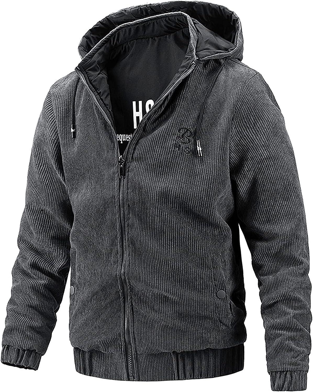 Mens Casual Double-Sided Wearable Jackets Lightweight Waterproof Hooded Windbreaker Slim Fit Comfy Outdoor Travel Jacket