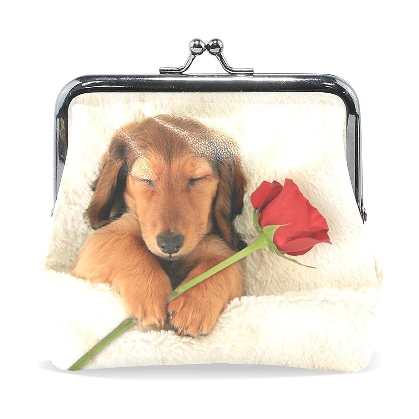 の間に航空機魅惑するGORIRA(ゴリラ) ローズを持って寝る犬ちゃん バレンタインデー 超繊レザー&木綿 人気財布 ブランド がま口式小銭入れ ミニがま口