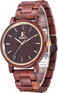 Sentai Natural Wooden Watch, Mens Business Casual Wristwatches, Japanese Movement Lightweight Vintage Wood Watches