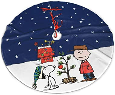 WOMFUI Christmas Tree Skirts Snoopy and Peanuts New Year Party Ornaments 36 Inch