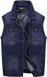 JYG Men's Casual Sleeveless Denim Vest Unlined Motorcycle Jean Jacket