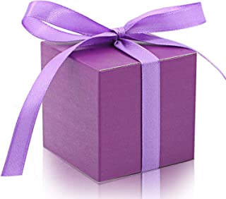 KPOSIYA 100 Pack Favor Boxes 2x2x2 inch Candy Boxes Purple Gift Boxes with Ribbons for Wedding Baby Shower Decorations Birthday Party Supplies (Purple, 100)