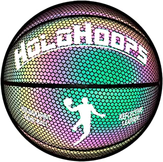 HoloGear HoloHoops Holographic Glowing Reflective Basketball - Light Up Camera Flash Glow in The Dark Basketballs - Hoop Gifts Toys for Kids and Boys - Perfect Toy for Night Game