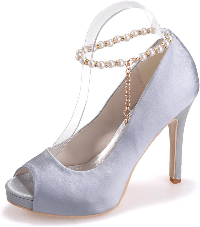 Ellenhouse Women's Imitation Pearl High Heels Peep Toe Pumps shoes EH066