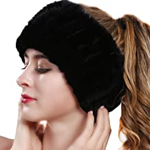 Fur Headband for Winter Womens Neck Warmer Gaiter Tube Elastic Ski Ear Warmer Headwrap