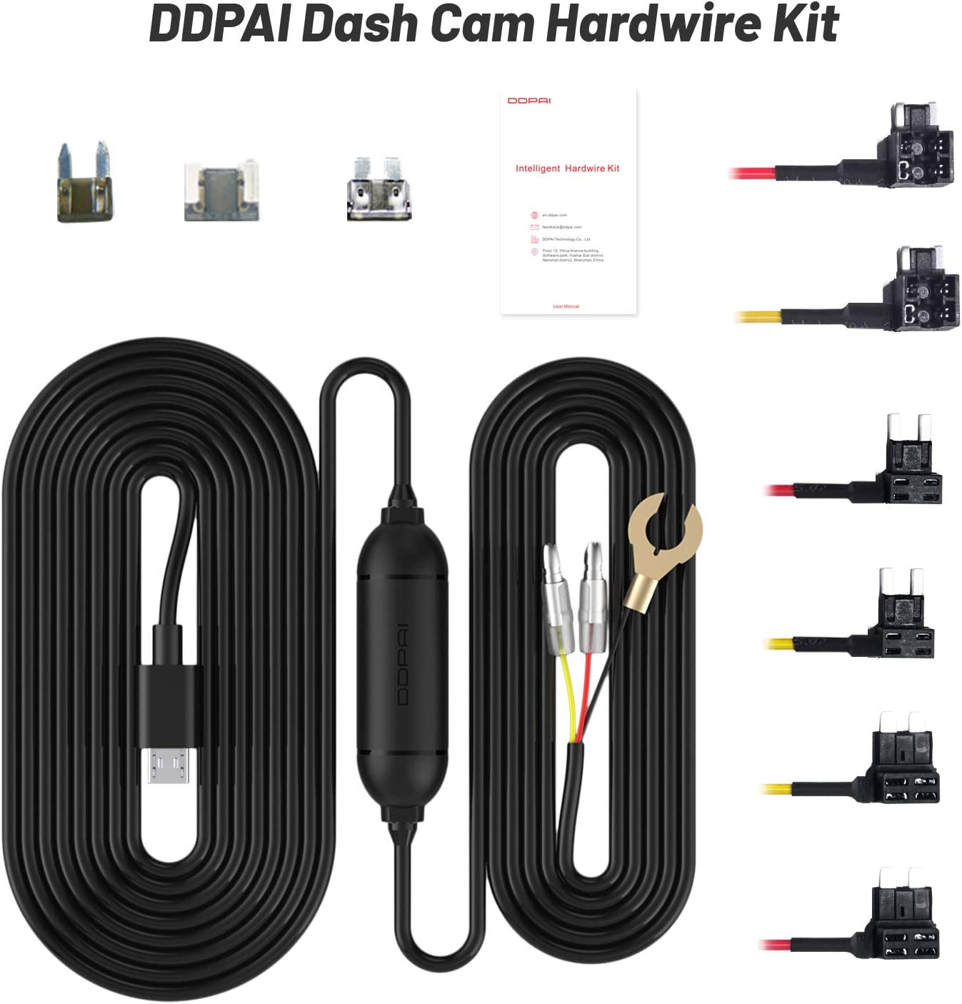 Plozoe 12V-24V to 5V Car Dash Camera Charger Power Cord DDPAI N3 Dash Cam Hardwire Kit,Mola N3 Dash Cam USB Hard Wire Kit Fuse for Dashcam Gift 3 Fuse Tap Cable and Installation Tool(11.5ft)