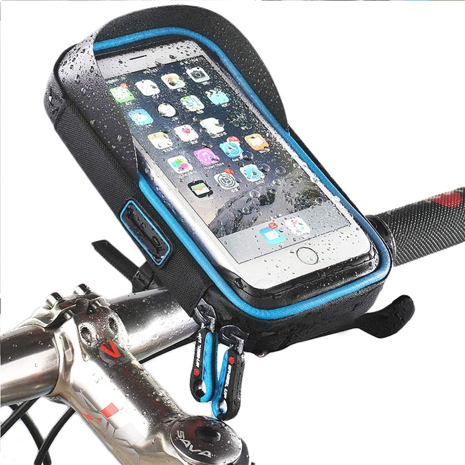 Bike Bag Pouch, Waterproof Bicycle Frame Cycling Pannier with Headphone Cable Outlet, Phone Holder Touch Screen for Phones Below 6 inch
