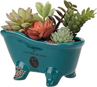 MyGift 6 Inch Turquoise Porcelain Petite French Country Style Claw Foot Bathtub Vintage Flower Planter Pot, Soap Dish