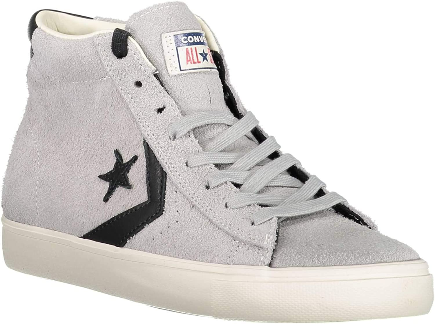 Converse Adults' Lifestyle Pro Leather Vulc Mid Low-Top Sneakers, Multicolour (Ghost Grey Black Turtledove 020), 9 UK