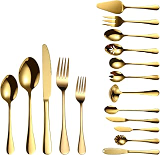 72 Piece Silverware Flatware Cutlery Set, Stainless Steel Fork Spoon Knife Sets for 12, Dishwasher Safe (Gold)